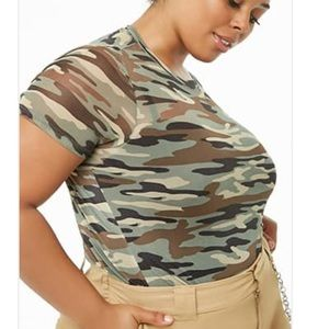 Forever 21 + sheer Mesh camouflage camo print tee
